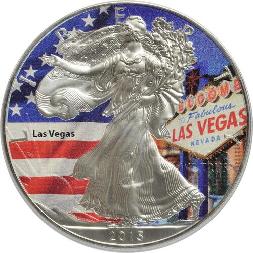 "Vorderseite:USA : 1 Dollar Silber Eagle ""Las Vegas"" - farbig  2015 Stgl."