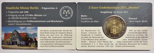 Rückseite :Deutschland : 2 Euro Hessen - Sonderblister World Money Fair WMF  2015 Stgl.