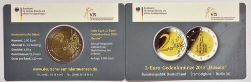 Lieferumfang :Deutschland : 2 Euro Hessen - Sonderblister World Money Fair WMF  2015 Stgl.