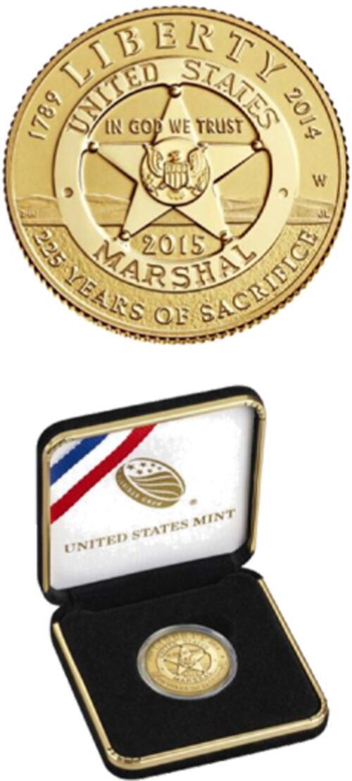 Lieferumfang :USA : 5 Dollar 225 Jahre United States Marshalls  2015 PP