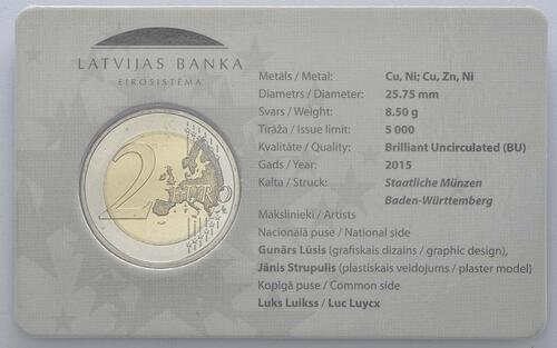 Rückseite :Lettland : 2 Euro EU Ratspräsidentschaft  2015 Stgl.