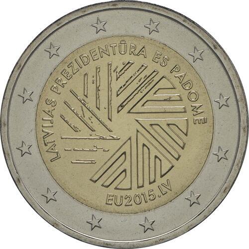 Rückseite :Lettland : 2 Euro EU Ratspräsidentschaft  2015 bfr