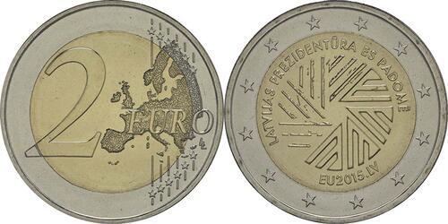 Lieferumfang :Lettland : 2 Euro EU Ratspräsidentschaft  2015 bfr