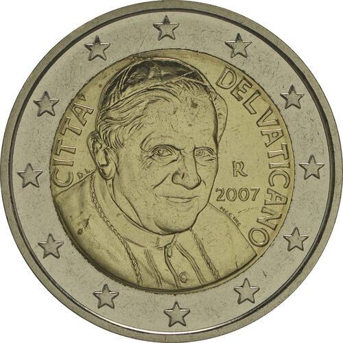Rückseite :Vatikan : 2 Euro Benedikt  2007 vz/Stgl.
