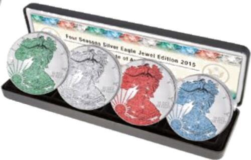 Lieferumfang :USA : 20 Dollar 4x1 $ 2015 Silber Eagle Juwel-Set im Etui  2015 Stgl.