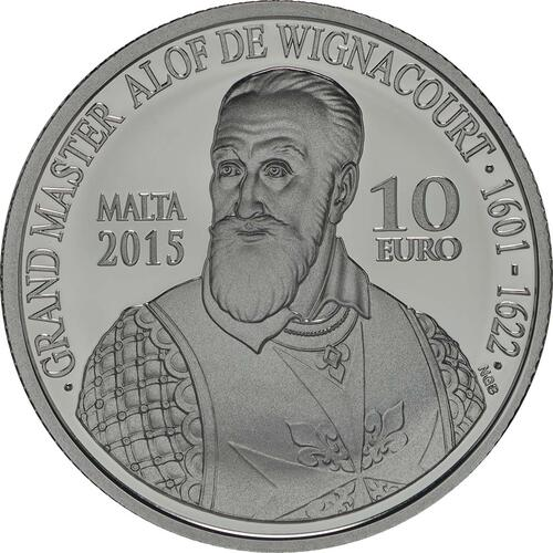 Vorderseite:Malta : 10 Euro Alof de Wignacourt/400 J. Aquädukt von La Valletta  2015 PP