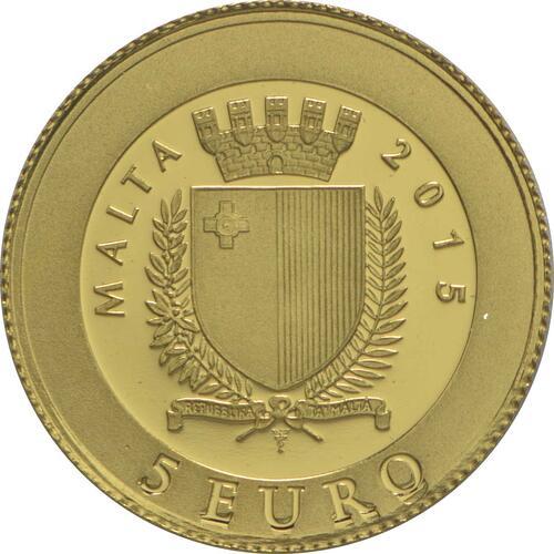 Rückseite:Malta : 5 Euro Papst Johannes Paul II  2015 PP