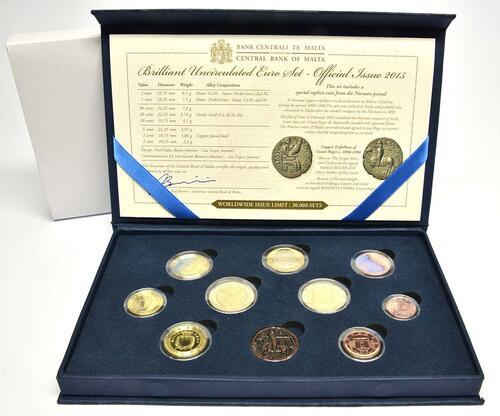 Lieferumfang:Malta : 5,88 Euro KMS Malta inkl. 2 Euro Gedenkmünze Republik  2015 Stgl.