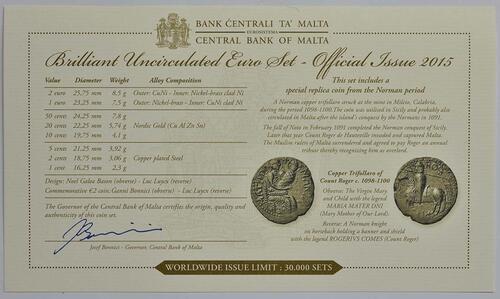 Zertifikat:Malta : 5,88 Euro KMS Malta inkl. 2 Euro Gedenkmünze Republik  2015 Stgl.