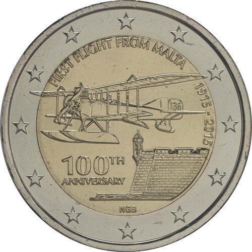 Rückseite:Malta : 2 Euro 100 Jahre erster Flug von Malta  2015 bfr