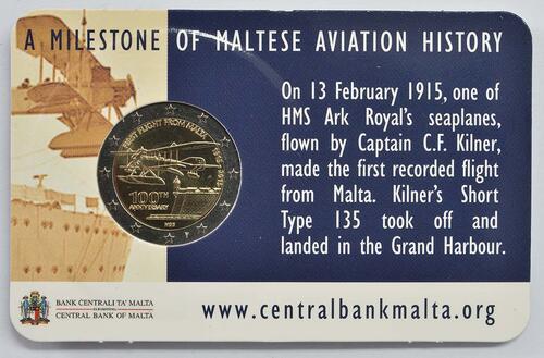 Rückseite :Malta : 2 Euro 100 Jahre erster Flug von Malta  2015 bfr