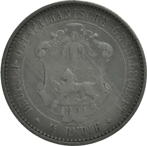 Rückseite:Deutschland : 1/4 Rupie Wilhelm II. in Uniform patina 1901 ss.