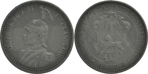 Lieferumfang:Deutschland : 1/4 Rupie Wilhelm II. in Uniform patina 1901 ss.