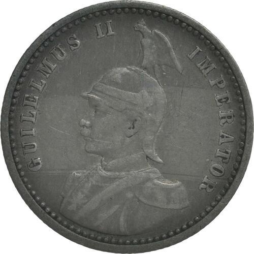 Vorderseite :Deutschland : 1/4 Rupie Wilhelm II. in Uniform patina 1901 ss.