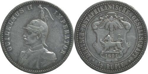 Lieferumfang:Deutschland : 1/2 Rupie Wilhelm II. in Uniform  1891 vz.