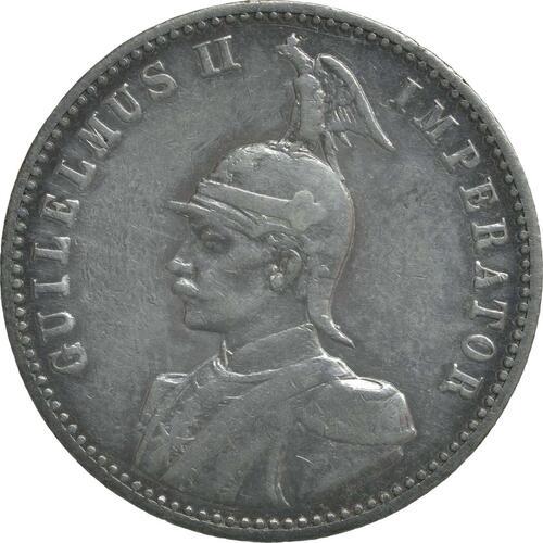 Vorderseite:Deutschland : 1/2 Rupie Wilhelm II. in Uniform  1891 vz.