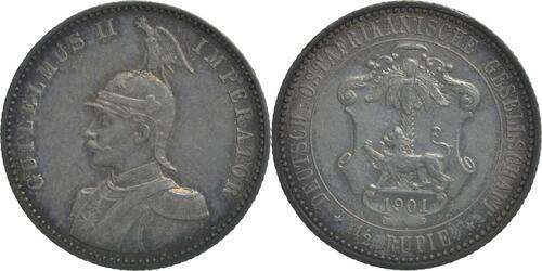 Lieferumfang:Deutschland : 1/2 Rupie Wilhelm II. in Uniform patina 1901 ss/vz.