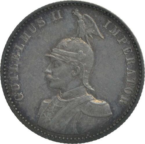 Vorderseite:Deutschland : 1/2 Rupie Wilhelm II. in Uniform patina 1901 ss/vz.