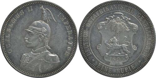 Lieferumfang :Deutschland : 1 Rupie Wilhelm II. in Uniform  1890 vz/Stgl.
