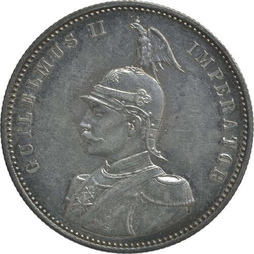 Vorderseite :Deutschland : 1 Rupie Wilhelm II. in Uniform  1890 vz/Stgl.