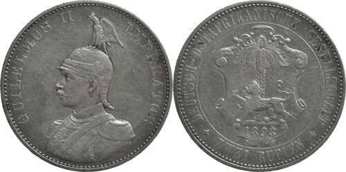 Lieferumfang:Deutschland : 2 Rupien Wilhelm II. in Uniform Kratzer 1893 f.ss