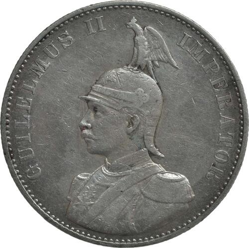 Vorderseite:Deutschland : 2 Rupien Wilhelm II. in Uniform Kratzer 1893 f.ss