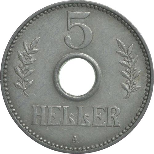 Vorderseite:Deutschland : 5 Heller   1913 ss/vz.