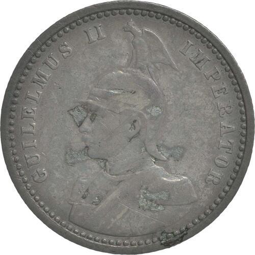 Rückseite:Deutschland : 1/4 Rupie Wilhelm II. in Uniform; Punkt a.VS patina 1904 ss.