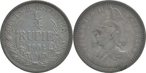 Lieferumfang:Deutschland : 1/4 Rupie Wilhelm II. in Uniform; Punkt a.VS patina 1904 ss.