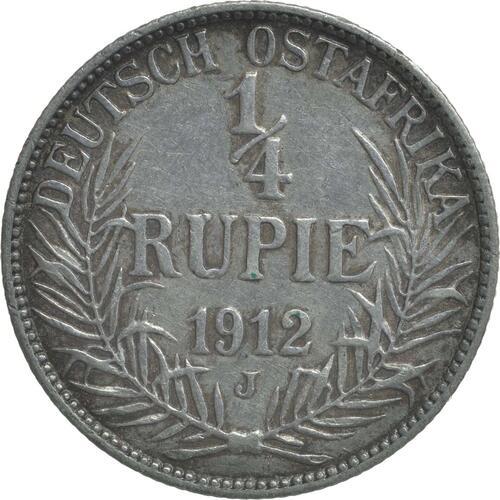 Vorderseite:Deutschland : 1/4 Rupie Wilhelm II. in Uniform  1912 ss/vz.