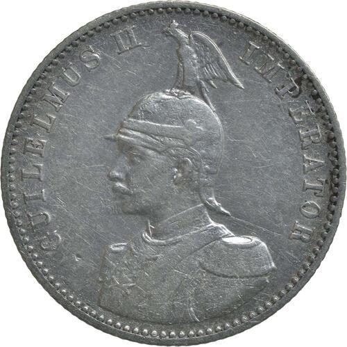 Rückseite :Deutschland : 1/2 Rupie Wilhelm II. in Uniform  1904 ss.
