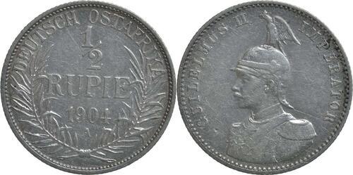 Lieferumfang :Deutschland : 1/2 Rupie Wilhelm II. in Uniform  1904 ss.