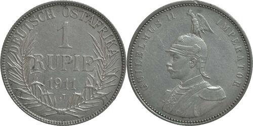 Lieferumfang:Deutschland : 1 Rupie Wilhelm II. in Uniform winz. Rs. 1911 vz.