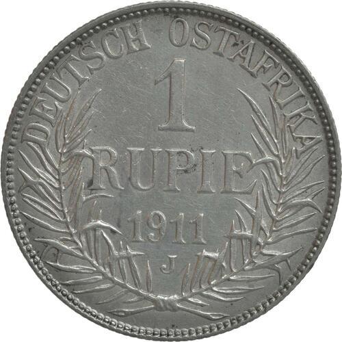 Vorderseite:Deutschland : 1 Rupie Wilhelm II. in Uniform winz. Rs. 1911 vz.