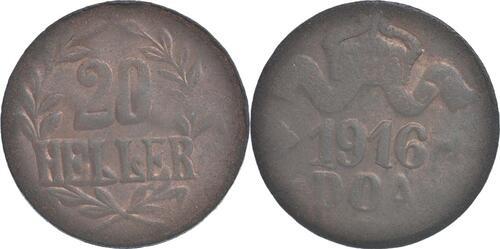 Lieferumfang:Deutschland : 20 Heller große Krone, Metall geprüft per Röntgenfluoreszenzanalyse -selten- 1916 ss.