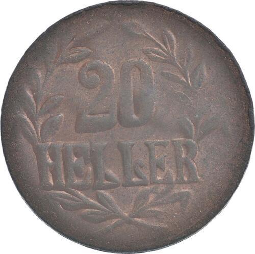 Vorderseite:Deutschland : 20 Heller große Krone, Metall geprüft per Röntgenfluoreszenzanalyse -selten- 1916 ss.