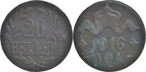 Lieferumfang :Deutschland : 20 Heller große Krone, Metall geprüft per Röntgenfluoreszenzanalyse  1916 ss.
