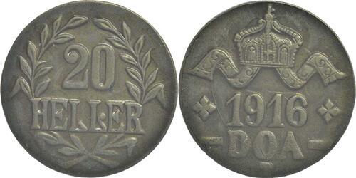 Lieferumfang :Deutschland : 20 Heller breite Krone, Metall geprüft per Röntgenfluoreszenzanalyse !Erhaltung! 1916 vz.