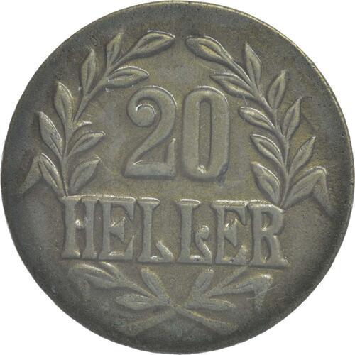 Vorderseite :Deutschland : 20 Heller breite Krone, Metall geprüft per Röntgenfluoreszenzanalyse !Erhaltung! 1916 vz.