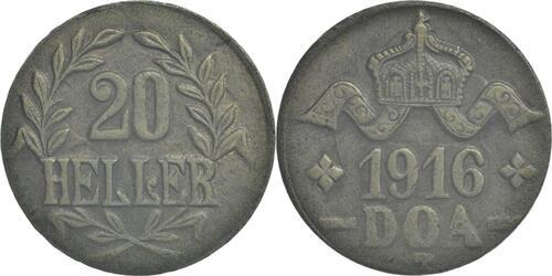 Lieferumfang:Deutschland : 20 Heller breite Krone, Metall geprüft per Röntgenfluoreszenzanalyse  1916 vz.