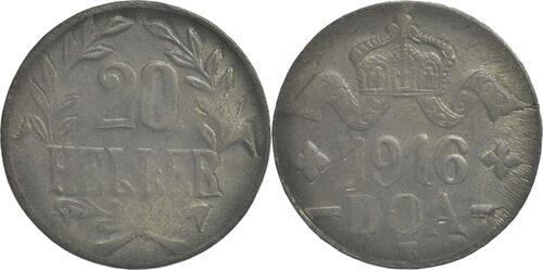 Lieferumfang :Deutschland : 20 Heller Metall geprüft per Röntgenfluoreszenzanalyse  1916 vz.