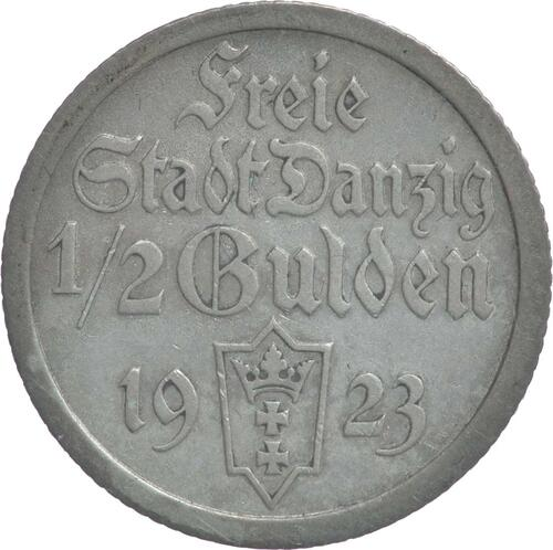 Vorderseite:Deutschland : 1/2 Gulden  patina 1923 ss/vz.