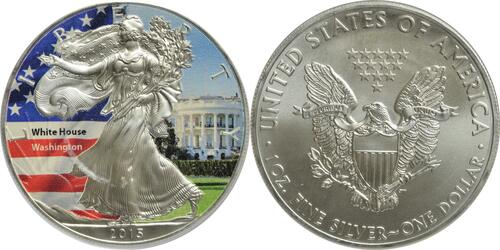"""Lieferumfang:USA : 1 Dollar Silber Eagle """"The White House""""  2015 Stgl."""