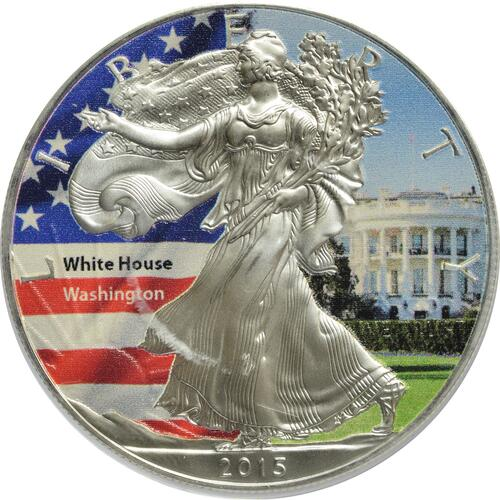 """Vorderseite:USA : 1 Dollar Silber Eagle """"The White House""""  2015 Stgl."""