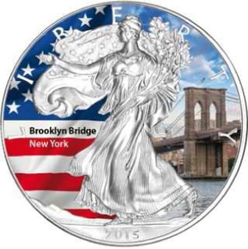 """Lieferumfang :USA : 1 Dollar Silber Eagle """"Brooklyn Bridge""""  2015 Stgl."""