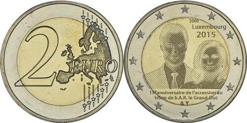 Lieferumfang :Luxemburg : 2 Euro 15. Jahrestag der Thronbesteigung von Großherzog Henri  2015 bfr