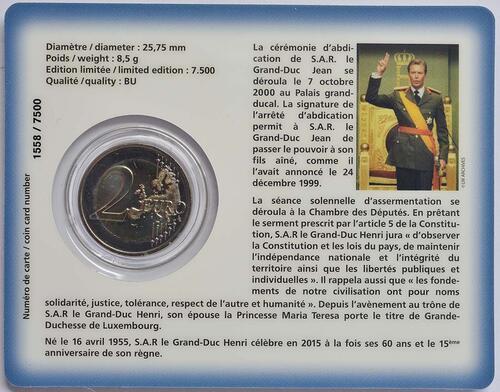 Rückseite :Luxemburg : 2 Euro 15. Jahrestag der Thronbesteigung von Großherzog Henri  2015 Stgl.
