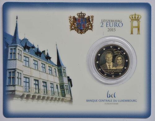 Lieferumfang :Luxemburg : 2 Euro 15. Jahrestag der Thronbesteigung von Großherzog Henri  2015 Stgl.