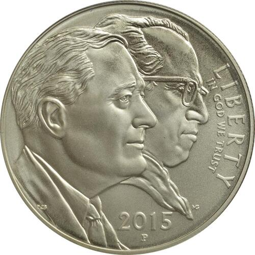 Rückseite:USA : 1 Dollar 75 Jahre March of Dimes (Kinderlähmungs-Stiftung)  2015 Stgl.