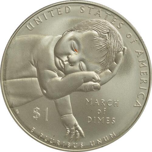 Vorderseite :USA : 1 Dollar 75 Jahre March of Dimes (Kinderlähmungs-Stiftung)  2015 Stgl.